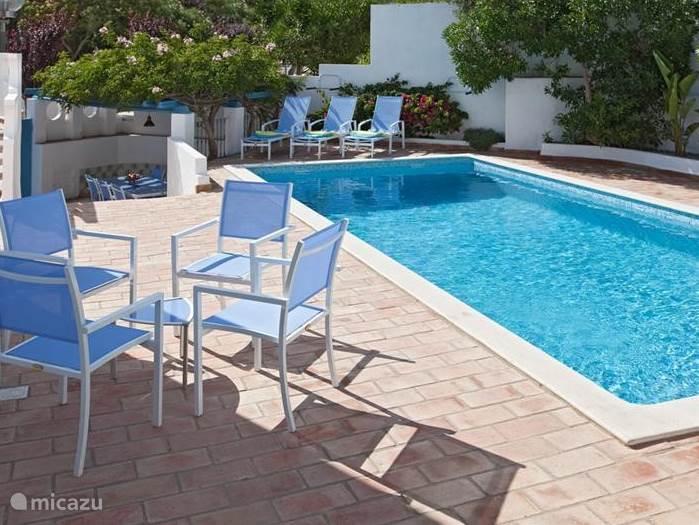 Diverse mogelijkheden om bij en rondom het zwembad te zitten.