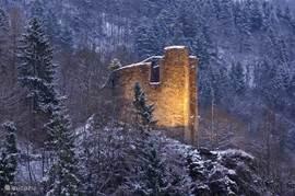 De ruine, gezien vanop het balkon in de winter