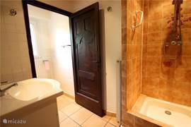 De eerste badkamer in de VILLA met douche en wastafelmeubel