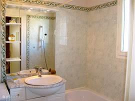 Badkamer met ligbad, douche gelegenheid in bad, wastafel en wasmachine aansluiting