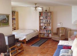 Studio appartement met tweepersoonsbed en rechts de slaapbank