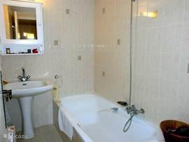 Badkamer bij appartement met eigen ligbad, wastafel en links de douche.