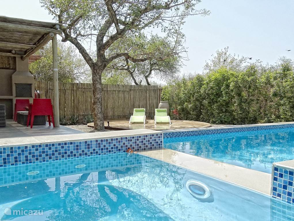 Tuin met privé zwembad, loungeset in de schaduw en twee ligstoelen.