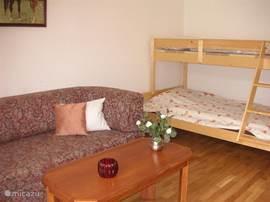 1e slaapkamer  met 2 persoonsslaapbank en een stapelbed. Als de slaapbank niet wordt gebruikt, dan is dit een ideale speelkamer voor kinderen.