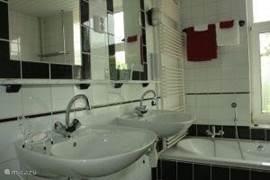 De badkamer heeft een dubbele wasbak, toilet, bad en inloopdouche. De handdoeken liggen klaar voor gebruik.