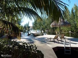 Het bootdeck achter de villa. De Tikihut met bar. De zonnebedden staan klaar en vissen (hengels aanwezig) kan natuurlijk ook. Zet (het mobiele) watercool apparaat op het boatdeck plus de muziekinstallatie en het wordt dé plaats voor heerlijke lange avonden.