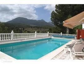zwembad met zonnescherm en ligstoelen het is nooit te heet altijd een licht briesje