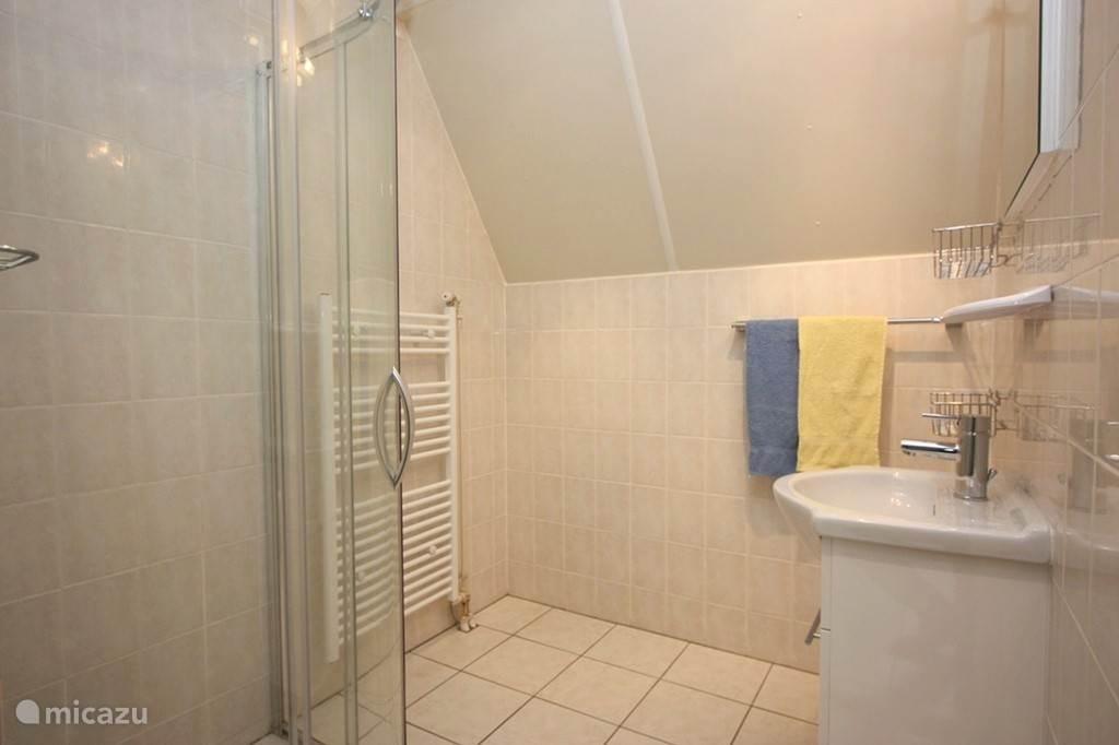 Op de begane grond tevens een stijlvol ingerichte badkamer met o.a. fraai badmeubel, douchecabine en sfeervolle verlichting.