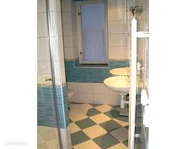 The fully renovated bathroom with 2 sinks, toilets and douchcabine. The bathroom is also a washing machine.