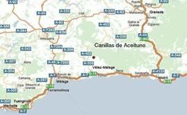 Ligging van La Jirafa (rode stip op de kaart). Binnen een 20 minuten bij een uitgebreid winkelcentrum, binnen een half uur op het strand.