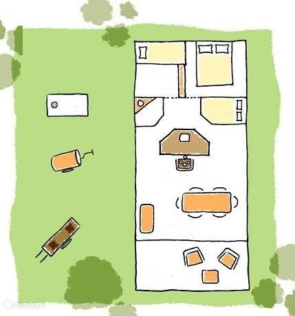 Plattegrond Duinlodge (6 persoons) met twee slaapkamers en de speelse bedstee