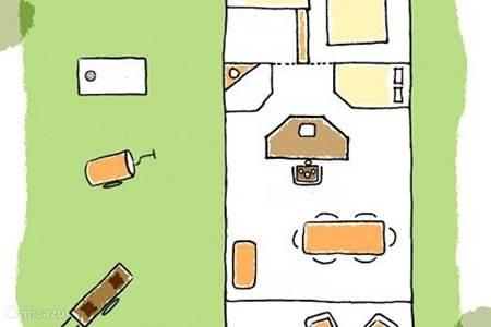 Plattegrond Duinlodge (6 persoons) met twee slaapkamers en de speelse ...