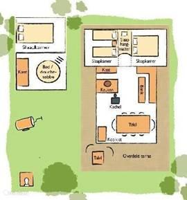 Plattegrond Strandlodge (8 personen)  Twee slaapkamers en het hangmatten systeem in de lodge.  Inclusief vrijstaand toilet en het gastenverblijf met extra slaapkamer en badkamer met wastobbe en wasmeubel