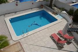Bovenaanzicht vanaf dakterras op de achtertuin met zwembad.