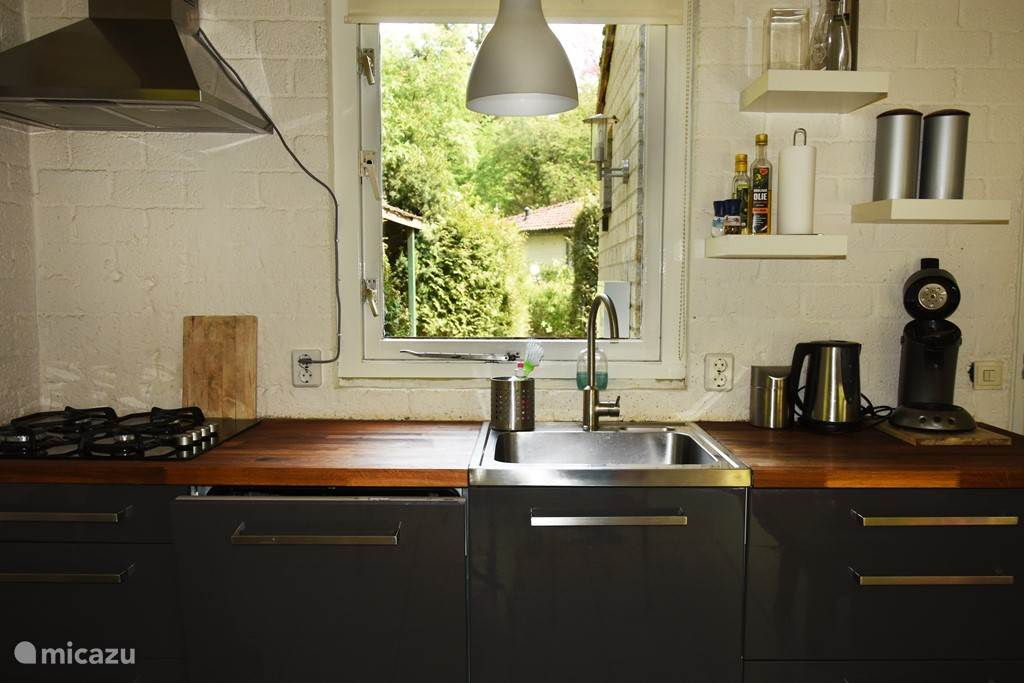 De keuken met vaatwasser en kookplaat