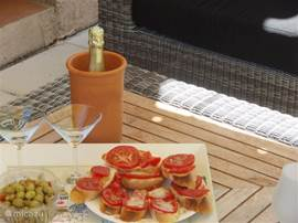 delicious aperitif in the shade by the pool