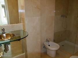 De badkamer en-suite, deze zit naast de hoofdslaapkamer.