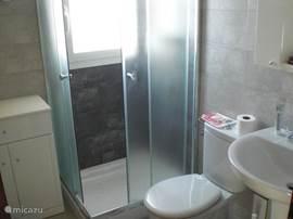 De badkamer met wastafel, toilet, handdoekenkastje en een douche cabine.
