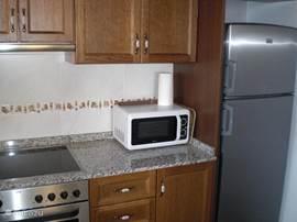 De keuken met alle benodigde apparatuur zoals een oven, elektrische kookplaat, magnetron, koel/vries combinatie, waterkoker, etc.