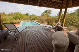 Veranda met 2 ligstoelen en een heerlijke ligbank met uitzicht op de drakensbergen en de bush