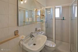 Badkamer voorzien van wastafel; toilet en douche.