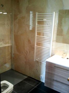 Badkamer met bad en douche en vaste wastafel