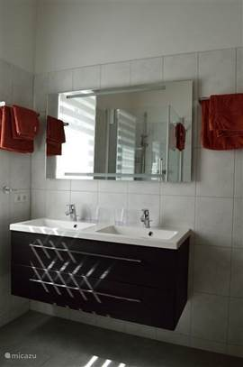 Double sink with mirror and large storage drawers. Lighting in the mirror.