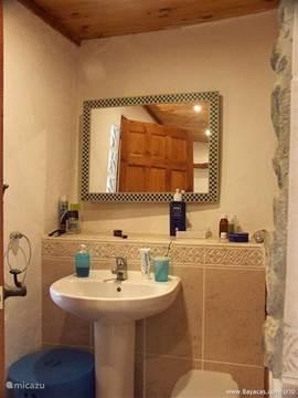 Linker deel van de badkamer met wastafel en rechts de (verborgen)wasmachine.
