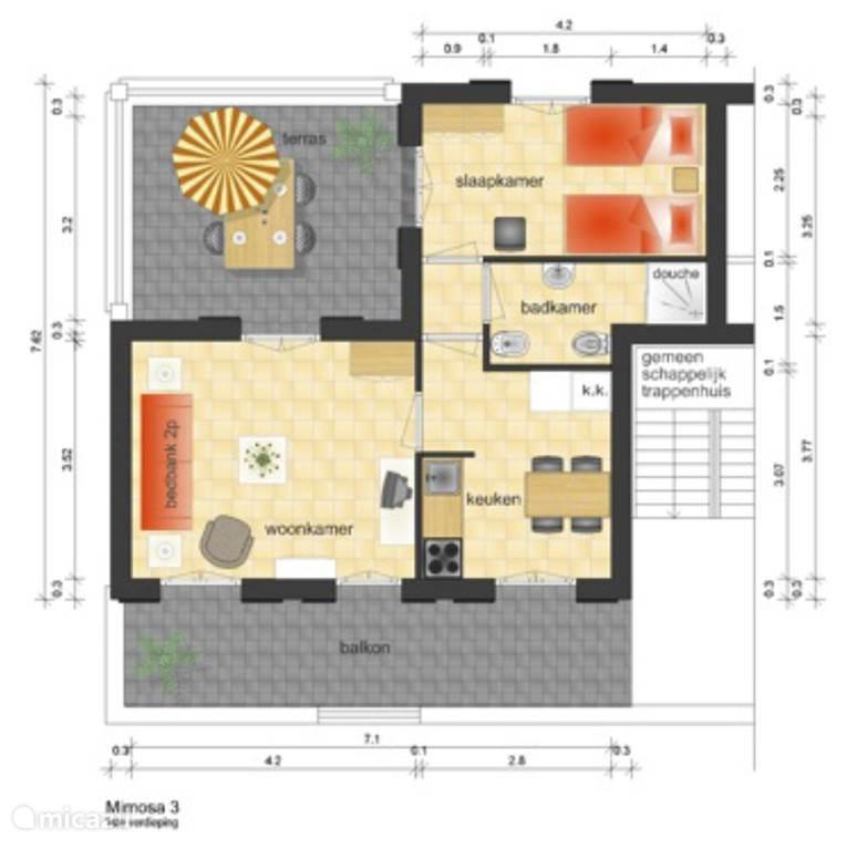 Plattegrond van appartement Mimosa 3