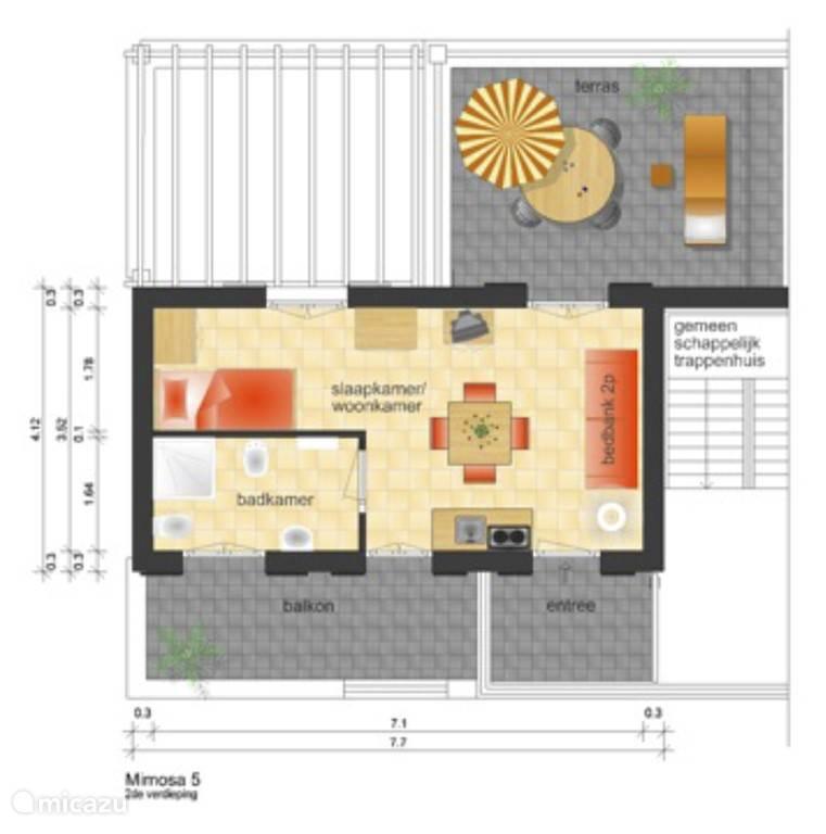 Plattegrond van appartement Mimosa 5