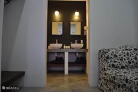 Luxe badkamer met regendouche, dubbele wastafels en toilet. Fohn, tissues, handzeep en handdoeken aanwezig.