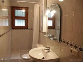 De tweede badkamer is voorzien van een douche, toilet en wastafel.