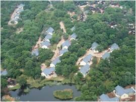 Luchtfoto van onze bungalow