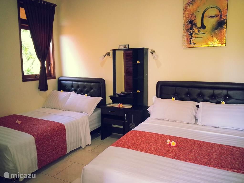 Slaapkamermet 2 twijfelaars van 1.40m-2.00m en 1.20m-2.00m met airco