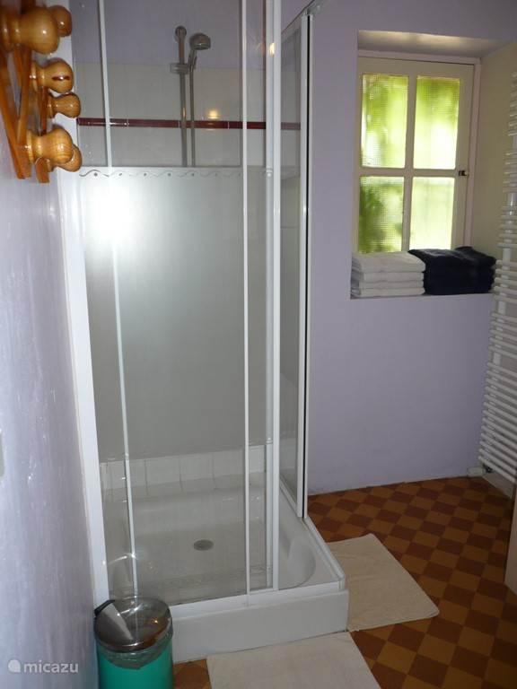 Ruime badkamer met douchecabine