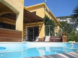 achterzijde van het huis met het zwembad en het terras