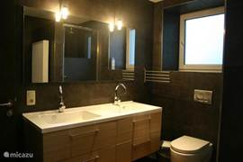 Large bathroom with shower, sink, tub, toilet