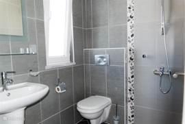 Moderne badkamer behorende bij tweede slaapkamer. Voorzien van eigen douche, toilet en wastafel.