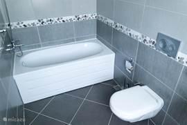 Moderne badkamer behorende bij eerste slaapkamer. Voorzien van eigen douche, toilet en ligbad