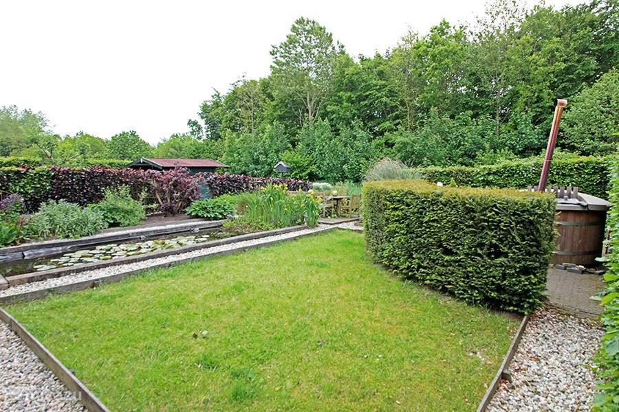De achtertuin met  de vijver en de hottub. Achter grenst de tuin direct aan het bos waar je reeën, vossen, hazen en veel roofvogels kunt treffen.