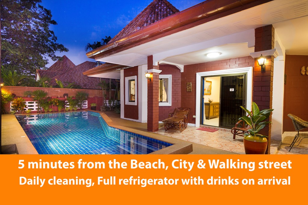 Great last minute deal for our Villa with private pool close to the beach in Pattaya.   Near the Beach, city and walking street