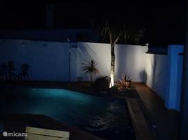 Gezellig borrelen naast het sfeervolle verlichte zwembad.  Night foto of your private pool.