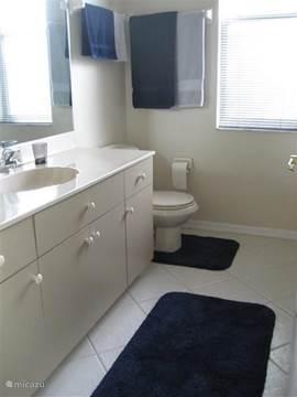 Badkamer behorend bij de achterslaapkamer, voorzien van een ruime instapdouche.