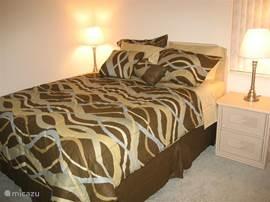 Slaapkamer aan de linkerkant van het huis met queensizebed en meubel met grote spiegel.  Slaapkamer heeft ingebouwde kledingkast.