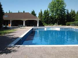 Het buiten zwembad. Niet verwarmd. Alleen toegankelijk voor eigenaren en huurders van de huisjes. Met apart kinderbad.