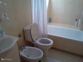 Badkamer met wastafel en bad/douche. Verder toilet en bidet.