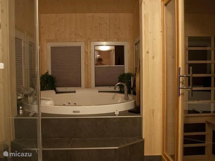 Wellnes ruimte met sauna, douche en bubbelbad