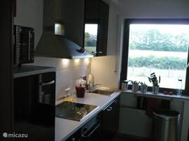 kitchen with microwave,oven, dishwasher, ceramic hobs and toaster.