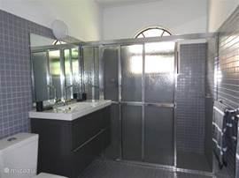 Badkamer 3 met regendouche, föhn en toilet.