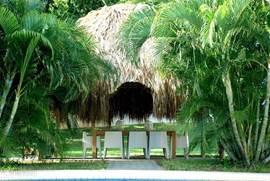 De palapa (typisch Caribische overkapping van gedroogde palmbladeren) bescherming tegen de zon. Onder de palapa staat een grote eettafel met buitenkeuken.